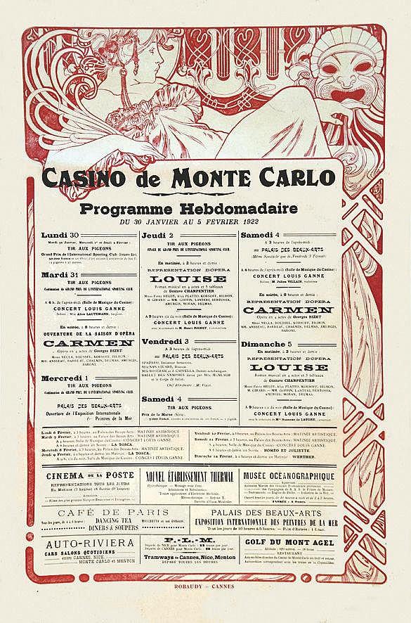 MUCHA ALPHONSE  Casino de Monté Carlo Programme hebdomadaire 30 01 au 5 02 1922     1922