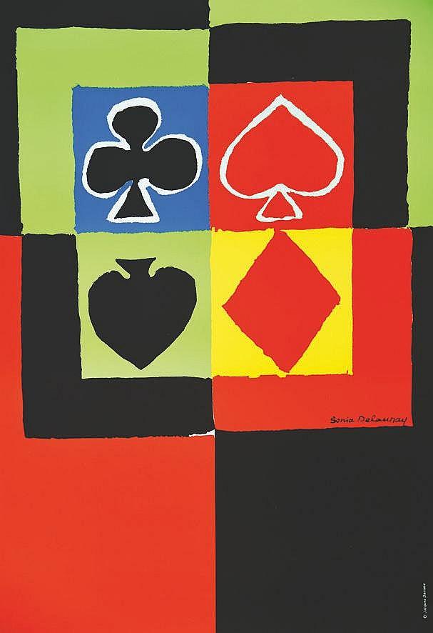 DELAUNAY SONIA  Jacques Damase Jeux de Cartes     vers 1970