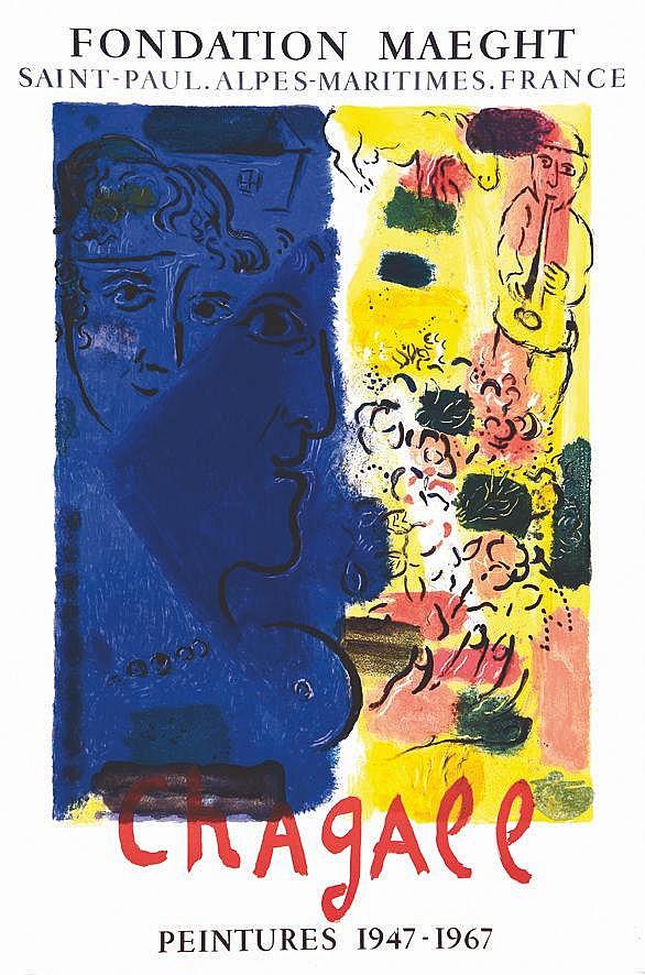 CHAGALL MARC Profil Bleu - Fondation Maeght 1967