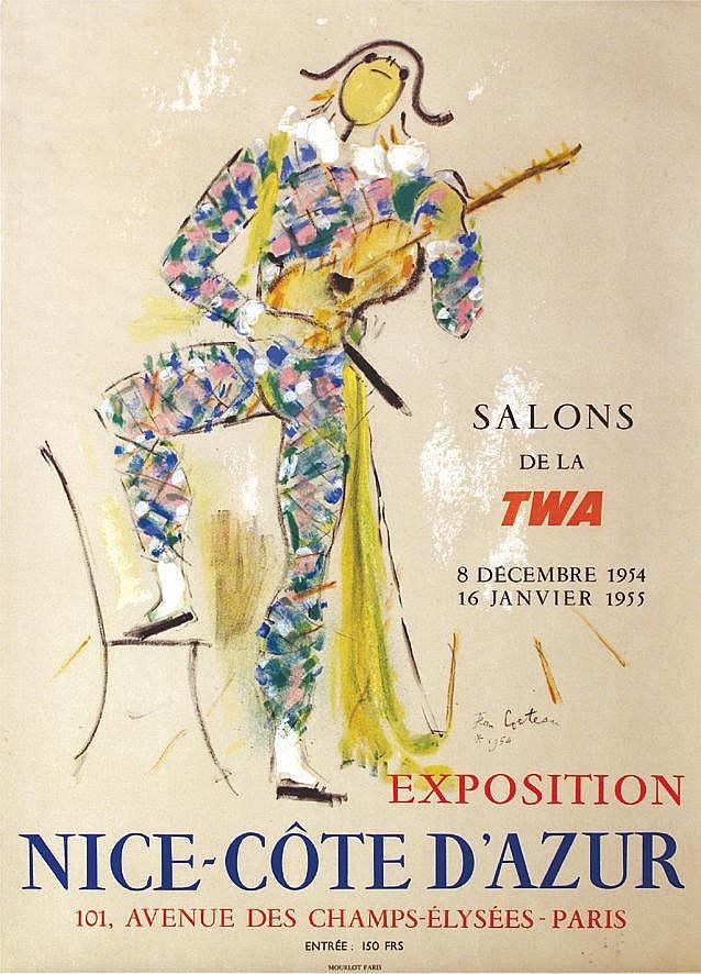 COCTEAU JEAN Nice-Côte d'Azur - Salons de la TWA 1954