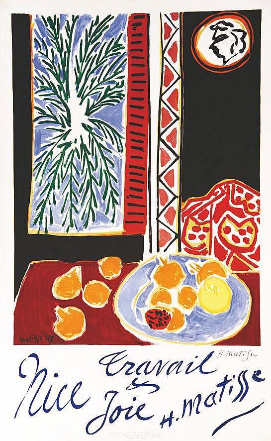MATISSE HENRI Nice Travail & Joie signée de la main de Henri Matisse sur papier Mangis philigrammé 1947