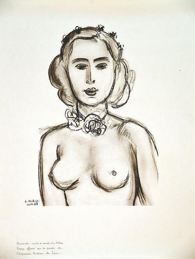 MATISSE HENRI Femme nue - Matisse reproduction d'un dessin / of drawing 1948