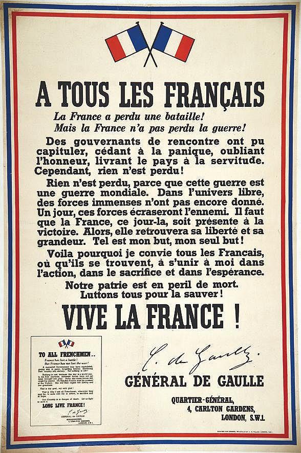 Appel du 18 Juin - A tous les Français 1940