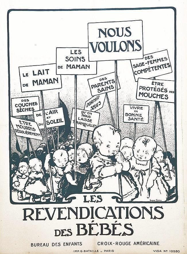 CARLU JACQUES Les Revendications des Bébés Croix Rouge Américaine vers 1920