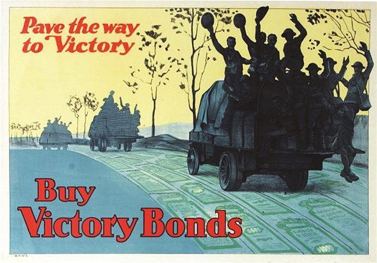 Pave the Way to Victory, Buy Victory Bonds - Rare affiche Canadienne 1918