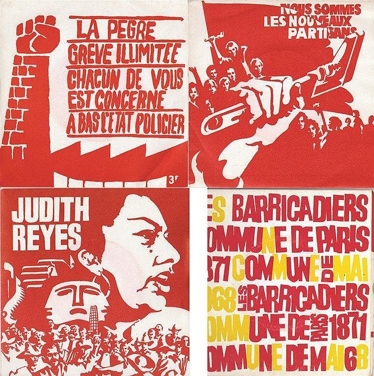 Lot de 4 Disques Vinyles : Judith Reyes - Nous sommes - La Pegre - Les Baricades     1968