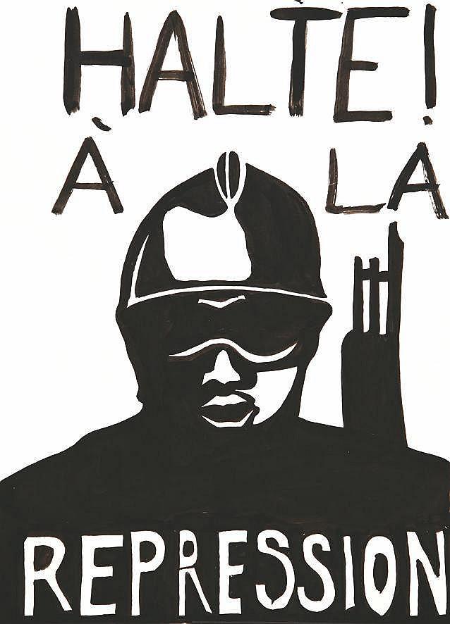 Halte à la Répression dessin au feutre noir     1968