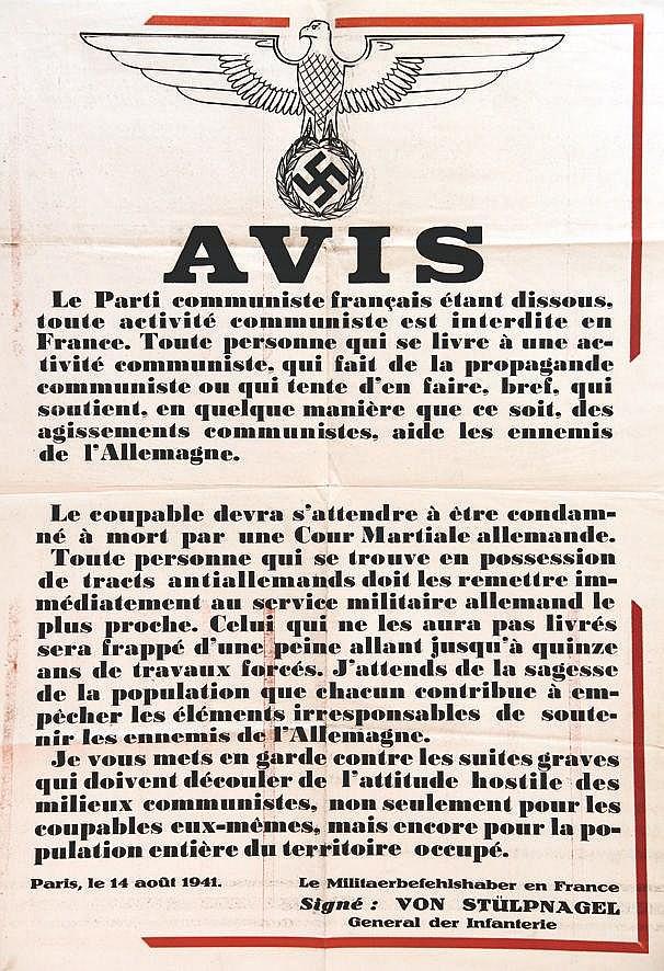Le Parti Communiste est dissous     14 août 1941