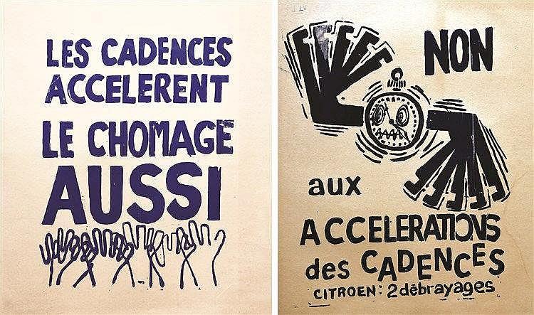 Lot de 2 Affiches Mai 68: Citroën - Non aux accélérations des cadences / Chômage aussi 1968