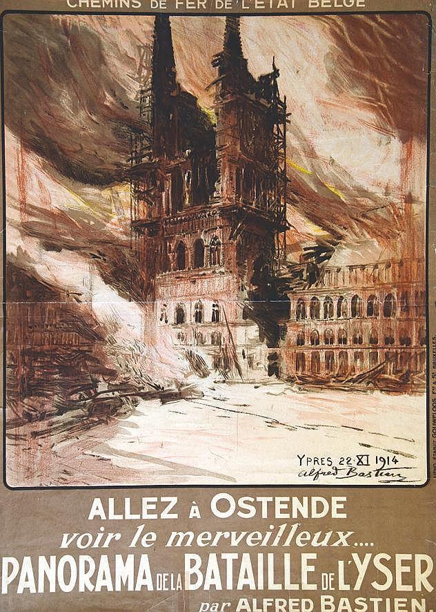 BASTIEN ALFRED Panorama de la Bataille de l'Yser - Allez à Ostende - Rare vers 1920
