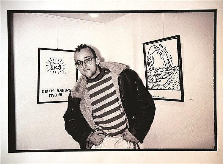 BENHAMOU SERGE  Keith Haring photo de Serge Benhamou signée au feitre et tamponée     vers 1980