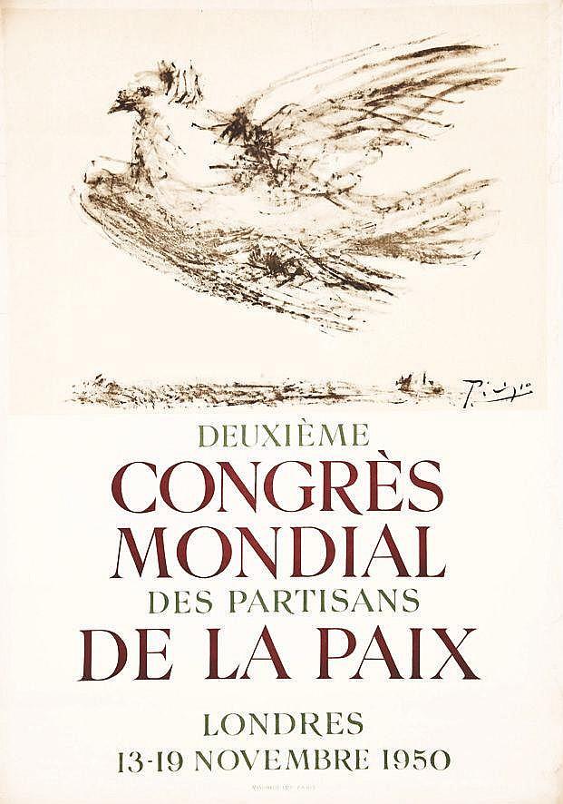 PICASSO PABLO  Deuxième Congrès Mondial de La Paix Londres     1950