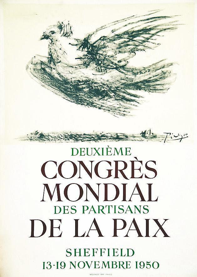 PICASSO PABLO Deuxième Congrès Mondial de la Paix Sheffield Rare 1950