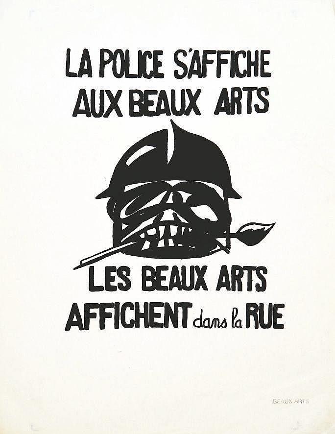 La Police s'Affiche aux Beaux Arts, Les Beaux Arts affichent dans la Rue     1968
