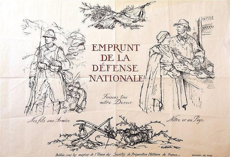 NAUDIN BERNARD Faisons tous Notre Devoir Nos fils aux Armées Notre or au Pays Emprunt Defense Nationale 1914