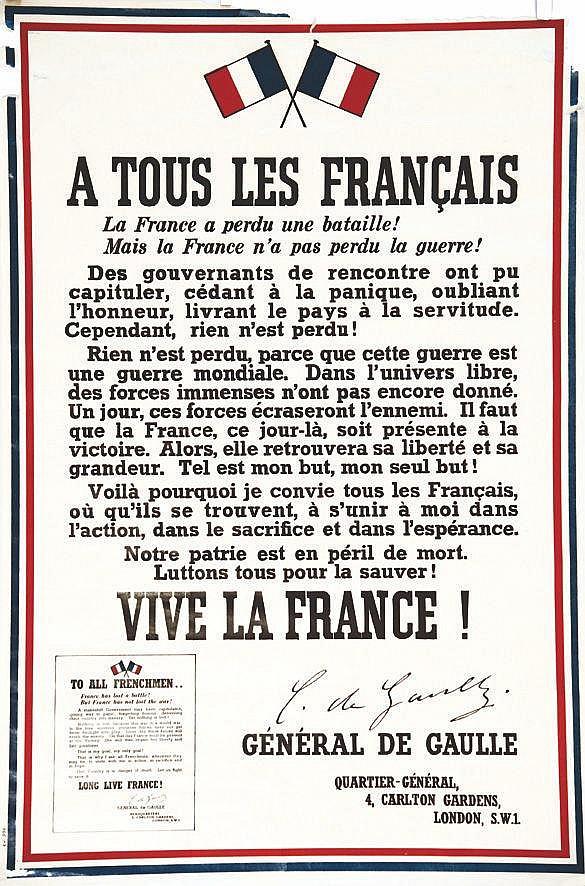 Appel du 18 Juin - A tous les Français -Tirage Anglais corrigé des erreurs. Affiche Rare     1940