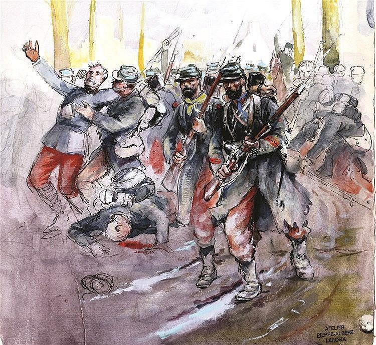 LEROUX PIERRE ALBERT L'Infanterie en marche Aquarelle avec le Cachet de Pierre Albert Leroux 1914