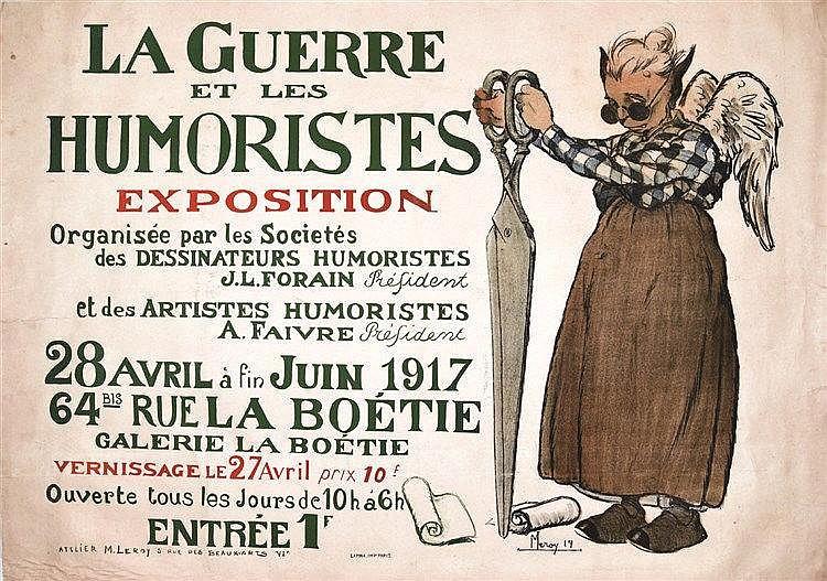 LEROY M.  La Guerre des Humoristes Exposition Forain Faivre très rare     1917