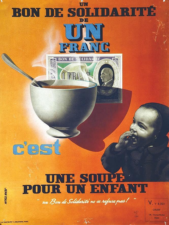 COLIN JEAN  Bons 1 Frcs c'est une soupe pour un enfant     vers 1941