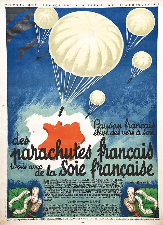 PUECH A.  Parachutes Français     vers 1950