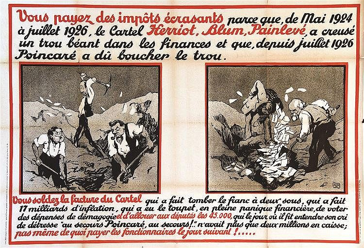 ALO Vous Payez des Impots Ecrasants .. Henriot, Blum, Painlevé vers 1930