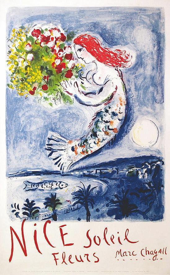 CHAGALL MARC  Marc Chagall - Nice Soleil Fleurs     1962
