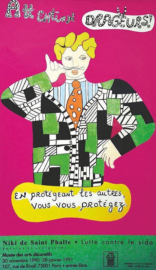 SAINT PHALLE Niki de  Attention Dragueurs - En vous protégeant.. Sida     1990