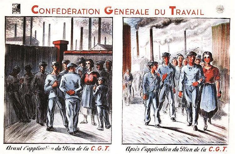 VERDILHAN ANDRE  CGT - Avant l'application du plan de la CGT. / Après l'application du plan de la CGT.     vers 1930