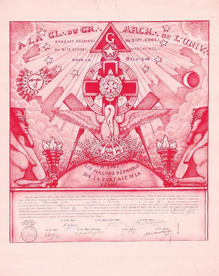 A tous les Maçons répandus sur la surface de la Terre - Diplôme Rosecroix Belge     1888