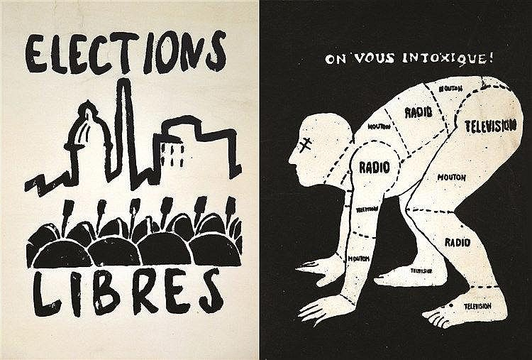 Lot de 2 aff / Lot of 2 Posters : Elections Libre & On vous intoxique !     1968