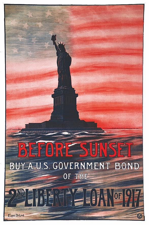 DE LAND EUGENIE Before Sunset buy a US Goverment Bond - Statue de la liberté 1917