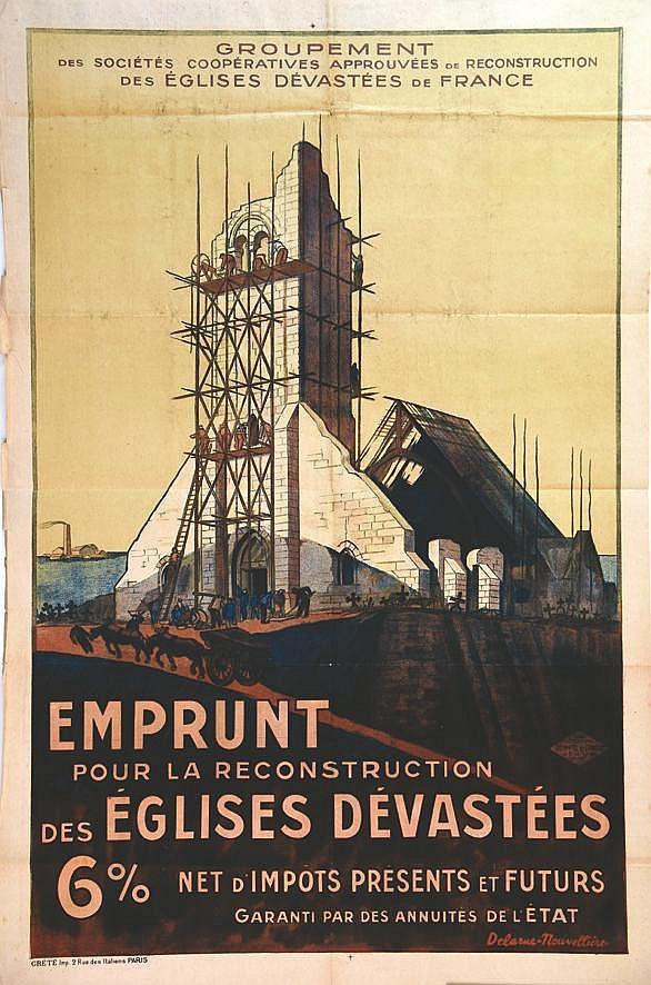 DELARUE-NOUVELLIERE  Emprunt Pour la Reconstruction des Eglises Dévastées     vers 1920