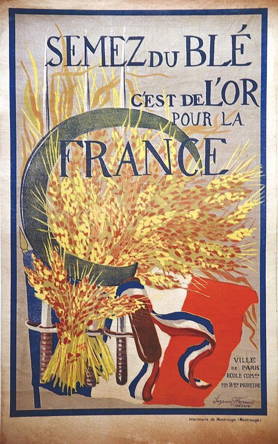 FERRAND SUZANE élève école com Péreire Paris 17 Semez du Blé c'estde l'Or pour la France vers 1917
