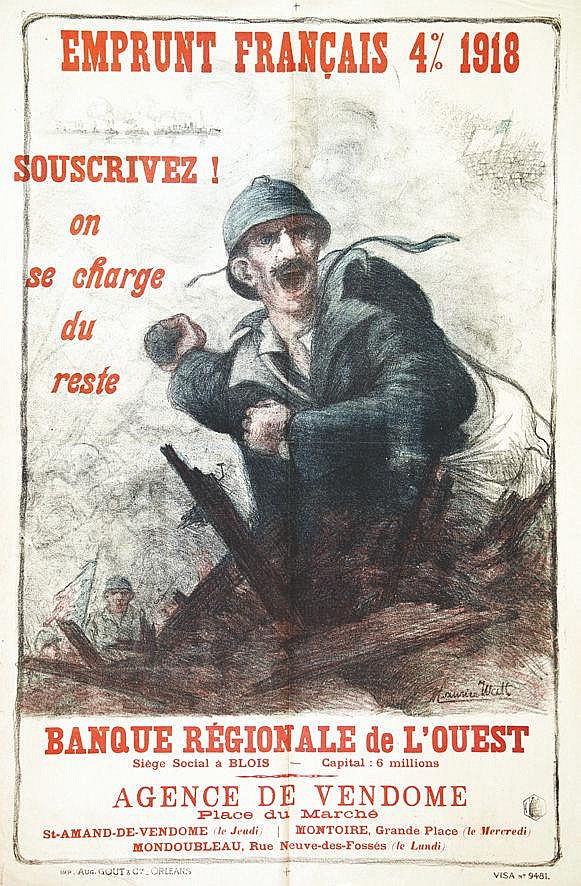 WATT MAURICE  Banque Régionale de L'ouest - Très rare     1918