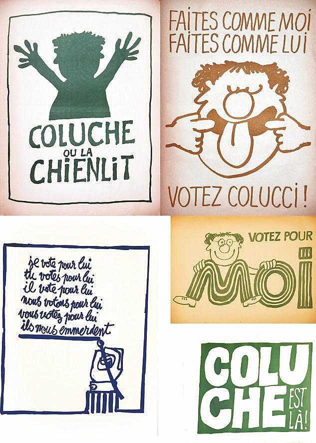 Coluche les 22 Affiches de sa Campagne électorale de Avril 1981 reprenant les slogans de mai 68     1981