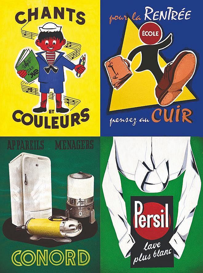 LE COMTE Y.  Lot de 31 Gouaches & Dessins par Y. Lecomte non signées     vers 1950