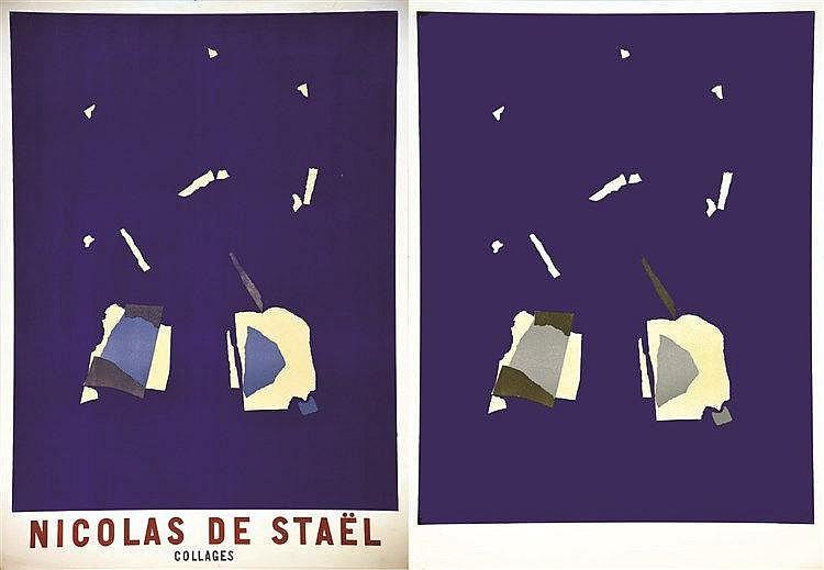 STAEL Nicolas de  Lot de 2 Aff: Nicolas de Staël Collages une sur arches avant la lettre     vers 1950