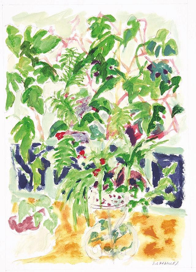 CAVAILLES JULES  Bouquet de Fleurs Gouache signée par Jules Cavailles     vers 1950