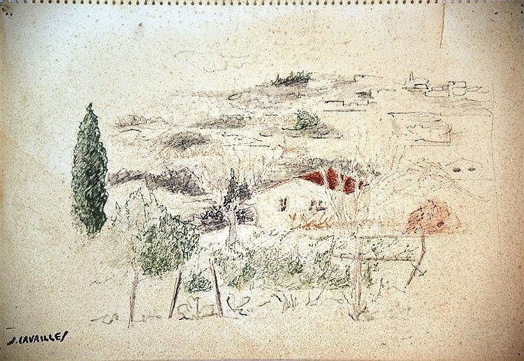 CAVAILLES JULES Paysage pastel signé du tampon J Cavailles vers 1950
