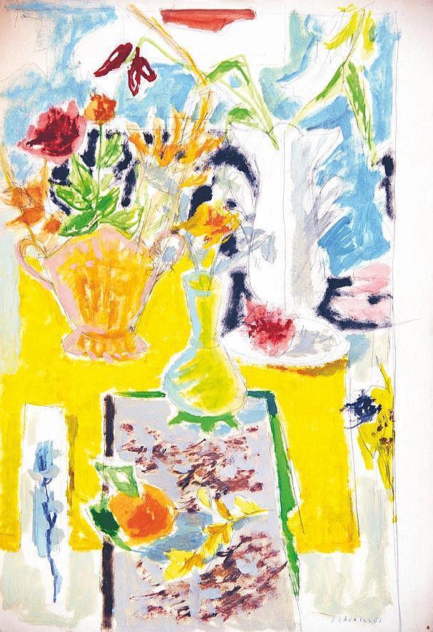 CAVAILLES JULES  Bouquet de Fleurs gouache signée Jules Cavaillès     vers 1950