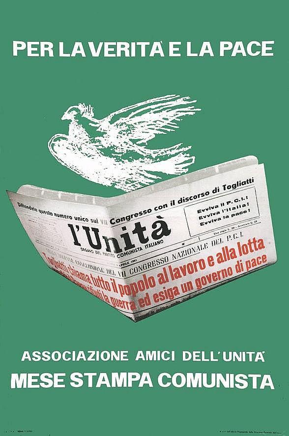 PICASSO PABLO d'après)  Per la verita e la Pace - L'Unita     vers 1950