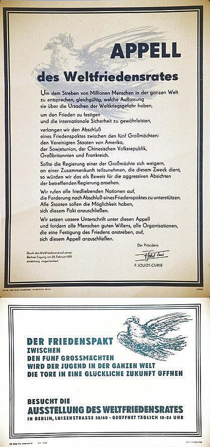 PICASSO PABLO d'après)  Lot de 2 Aff / Poster : Appell Der Friedenspakt     vers 1950