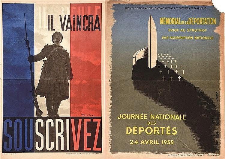 QUELLIEN / ROGER YVONNE Lot de 2 Affiches: Il vaincra, souscrivez / Journée Nationale des Déportés 24 Avril 1955 - 1955