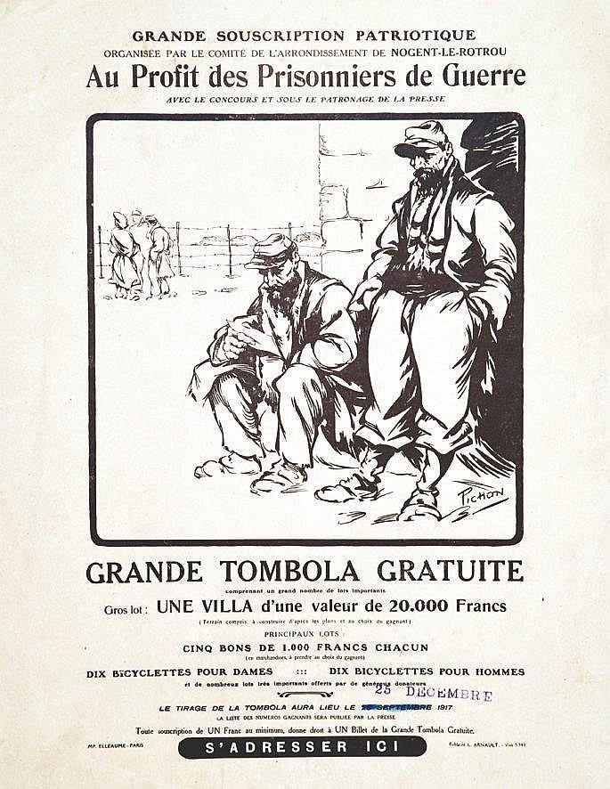 PICHON R.  Grande Tombola gratuite au profit des prisoniers de guerre très rare     1917