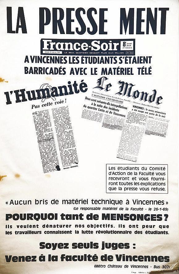 La Presse - Ment Université de Vincennes Janvier 1969 1969