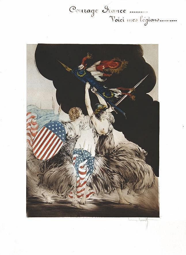ICART LOUIS Courage France - Voici mes Légions (U.S.A) - signée par Louis Icart & numérotée 34/150 1917