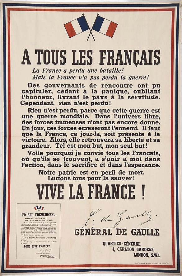A tous les Français (Appel du 18 Juin) - 2 ème édition avec les fautes - Très rare     1940