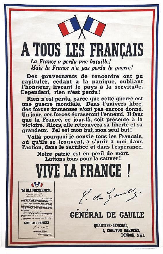 A tous les Français (Appel du 18 Juin) - 3 ème édition rare     1940