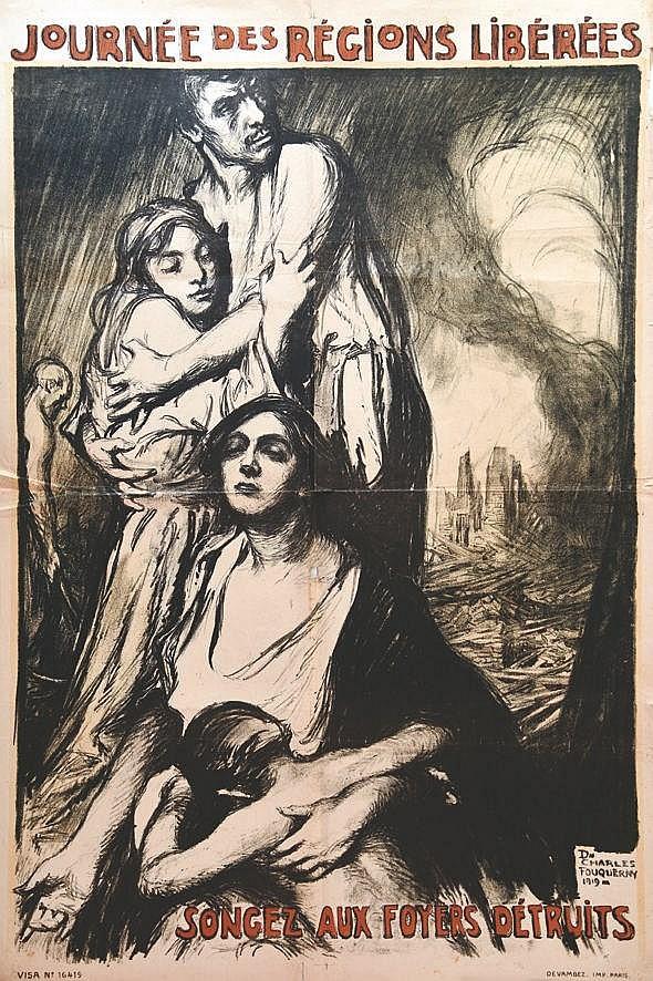 FOUQUERAY D. CHARLES  Journee des Regions Liberees - Songez Aux Foyers Detruits     1919