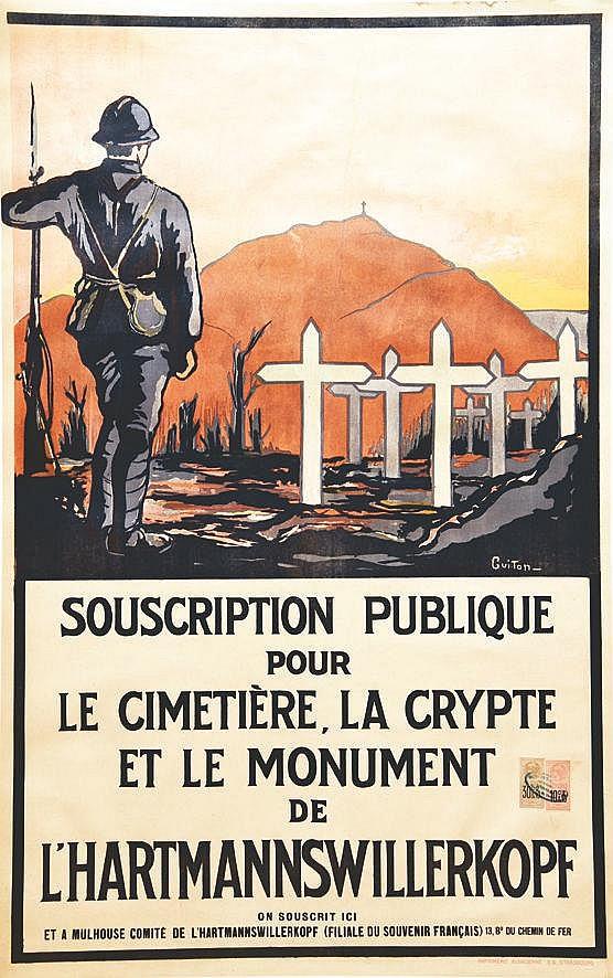 GUITON  Souscription publique pour le cimetierre, la crypte et le Monument de L'Hartmannswillerkopf     vers 1920  Mulhouse (Haut-Rhin)